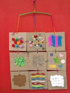 30 Sensory Activities - Preschool - Aluno On Diy Sensory Board, Sensory Wall, Sensory Book, Baby Sensory, 5 Senses Activities, Sensory Activities For Preschoolers, Infant Activities, Decoration Creche, Art For Kids