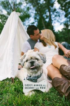 Dog Bone - Include your 4 legged friend - Daddy Asked and Mommy Said Yes - Wedding Announcement on Etsy, $19.95
