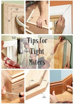 Tips for Tight Miters: Pro tricks for air-tight joints. http://www.familyhandyman.com/carpentry/trim-carpentry/how-to-tips-for-tight-miters