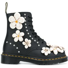 Dr. Martens embellished Pascal lace-up boots (345 CAD) ❤ liked on Polyvore featuring shoes, boots, black, black leather boots, black shoes, front lace up boots, leather boots and black leather shoes