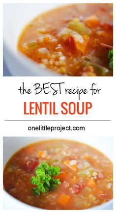 This is the BEST lentil soup recipe.  It's healthy, fresh and delicious!