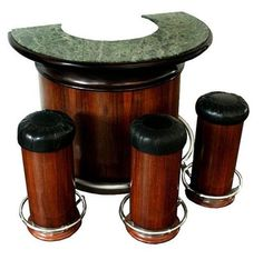 Art Deco Round Bar & Set of 3 Bar Stools Lot 256