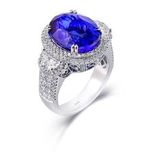 Simon Set Collection - This charming white ring features an natural Tanzanite, round white Diamonds, princess cut white Diamonds in a simon-set setting, and half moon cut white diamond side stones. Purple Engagement Rings, Designer Engagement Rings, Silver Jewelry, Fine Jewelry, Jewellery, Dream Ring, Jewelry Design, Jewels, White Diamonds
