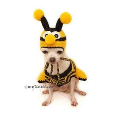 Bee Dog Costume Halloween Dog Costume Bee Crochet Dog Hats Etsy - Bee Dog Costume Halloween Dog Costume Together With Bee Crochet Dog Hats Funny Dog Costume Designed By Myknitt Designer Dog Clothes Any Personalized Dog Clothes Are Welcome Perfects For Chi Dachshund Clothes, Chihuahua Clothes, Puppy Clothes, Dog Halloween Costumes, Pet Costumes, Costume Chien, Chien Halloween, Crochet Dog Clothes, Bee Dog