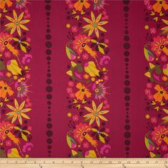 Field Day Small Floral Stripe Pink from @fabricdotcom  Designed by Alison Glass for Andover Fabrics, this cotton print is perfect for quilting, apparel and home decor accents. Colors include dark plum, vivid magenta, lime, olive, orange, bright coral, gold, rose, bright aqua and orchid. The stripe runs parallel to the selvedge as pictured.