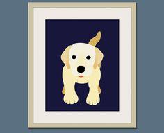 Labrador dog print. Puppy modern nursery artwork 11x14 for baby & kids room and playroom decor theme. Dog theme art by WallFry. $22.00, via Etsy.