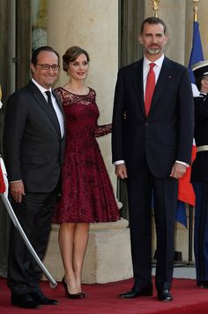 MyRoyals:  Spanish State Visit to France, State Dinner, Day 1, June 2, 2015-President François Hollane welcomes Queen Letizia and King Felipe to the Élyseé Palace for the State Dinner