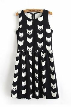 Cute Cat Printing Sleeveless Dress