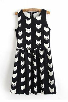 Cute Cat Printing Sleeveless Dress
