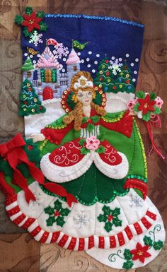 """This is a totally handmade Bucilla felt Christmas stocking it is the """"Princess"""" 18 inch Stocking. <br><br>I can add any name your choice of color just email me after purchase. The name will be placed on the back of the gold ornament.<br><br>I have made stocking's by hand for years, My girls ha..."""