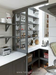 Whether you are building up a new kitchen or remodeling the existing one, kitchen pantry ideas reference would be very helpful. Kitchen pantry will not only help you organize the. Kitchen Pantry Design, Kitchen Pantry Cabinets, Kitchen Shelves, Diy Kitchen, Kitchen Interior, Kitchen Storage, Wall Pantry, Kitchen Ideas, Kitchen Unit