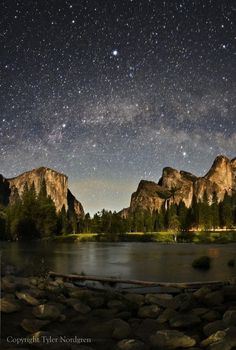 Yosemite National Park at night.