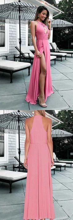 Custom Prom Dresses #CustomPromDresses, A-Line Prom Dresses #A-LinePromDresses, 2018 Prom Dresses #2018PromDresses, Prom Dresses Pink #PromDressesPink