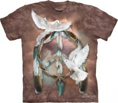 Find the beautiful dreams of peace of peace sign tie dye shirt. A wonderful combination of feathers, doves, and the peace create a soothing look.
