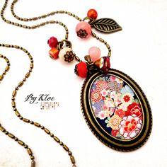 Collier sautoir cabochon • fleurs japonaises • rouge bleu orange rose blanc verre