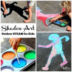 Shadow art outdoor science is a hands-on STEAM activity that will help children learn about shadows while making art. A fun outside art and science activity for toddlers to adults! Science Activities For Toddlers, Weather Activities, Outdoor Activities For Kids, Steam Activities, Creative Activities, Science For Kids, Art For Kids, Crafts For Kids, Shadow Theme