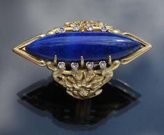 LOUIS WIÉSE 1852-1923: Art Nouveau Cornflower Ring Gold, Lapislazuli and Diamonds - French, ca.1900