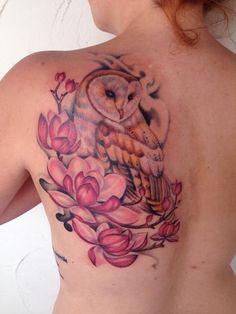 barn owl tattoo | Mallory Johnstone - barn owl tattoo *needs some books incorporated into it*