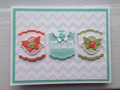 handmade card ... no stamping just punches and texture ...luv the decorated little tage ... butterflies and tiles ... chevron embossing folder textrure in the background ... pretty card ... Stampin'Up!