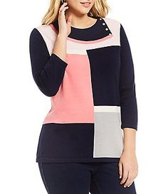 1beae174790 Allison Daley Plus Fold-Over Mock Neck Colorblock Pullover