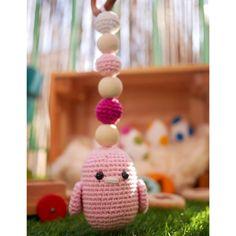 Hochet crochet Oiseau rose fait main 100% coton Anneau de   Etsy