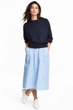Knielange rok - Lichtblauw/wit/gestreept - DAMES | H&M NL