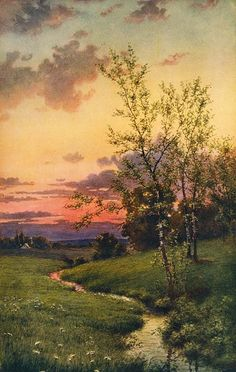 Edwin Lamasure (American, 1867 – 1916) - title unknown, 1910 ...poss nature's harmony? Think this is watercolour as artist primarily worked in this medium