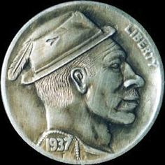 STEVE CAMPBELL - MAN WEARING FEDORA WITH FEATHER - 1937 BUFFALO PROFILE Buffalo, Coins, Feather, Profile, Art, User Profile, Art Background, Quill, Rooms