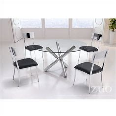 ZUO Modern Stant Chrome Dining Table Set