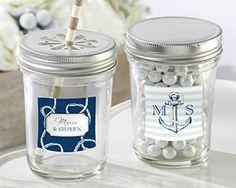 Personalized Nautical Wedding Mason Jar (Set of 12) $24.75