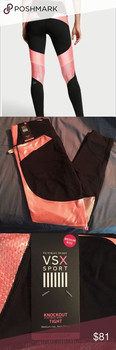 Victoria's Secret Sport tights. New without tags. Full length vsx workout leggings. Black and electric shimmery pink. Very flattering cut and pattern with mesh behind knees. I love them they are just a little big for me. Size large. Offers welcome. I've worn them once to try on.                                                         Tags: Nike, Under Armour, sexy, bikini, beach, swim, adidas, tights, body, gym, Victoria secret, sport, run, reflective, puma, skinny, fit, fitness Victoria's…