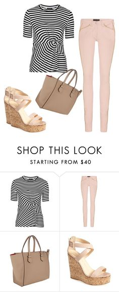 """""""Zebra"""" by bodotami on Polyvore featuring Topshop, Isabel Marant, Moreau, Giuseppe Zanotti, Leather, stripe, jeans, nude and baige"""