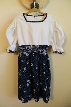 vintage adorable homemade smocked floral 70's dress 5t/6t navy and white polka dot dress on Etsy, $15.00