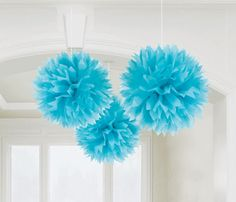 Our blue fluffy decorations will add a modern yet elegant twist to any party. Available in many different colors.