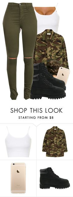 """""""Untitled #442"""" by chyna-campbell ❤ liked on Polyvore featuring Topshop, Yves Saint Laurent and Timberland"""