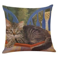 Tabby Curled Up Cat Design Cushion Cover - Cat Lovers Australia Printed Cushions, Cushions On Sofa, Throw Pillow Cases, Throw Pillows, Cat Themed Gifts, Cat Cushion, Cute Black Cats, Cat Lover Gifts, Cat Lovers