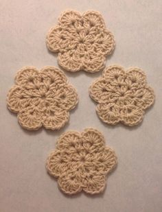 Hand Made Flower Crochet Doilies Oatmeal Beige ,Coasters, Set Of 4  new