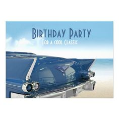 Cool Classic Car 60th Birthday Party Invitation