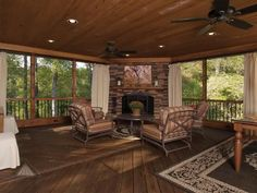 Our screened in porch and deck projects transform backyards into lovely outdoor rooms. View some of our work and call to schedule a screened porch consult. Back Porch Designs, Home, Porch Fireplace, House Design, House With Porch, Sunroom Designs, Deck Design, Indoor Porch, Porch Design