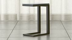 Parsons Clear Glass Top/ Dark Steel Base 20x12 C Table | Crate and Barrel