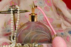 vintage perfume atomizers | Vintage Perfume Bottle Atomizer Handpainted Rueven Glass by Nouveau ...