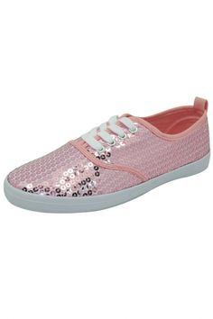 Blush Shining Sequined Lace-Up Sneakers