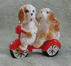 Vintage Dogs Riding Bike Salt and Pepper Shakers | eBay