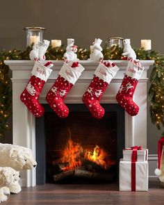 Give your mantel a dash of Christmas joy with charming red stockings.