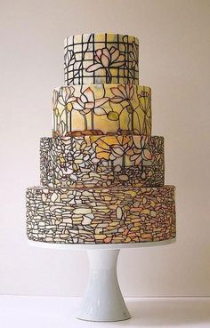 ( I pinned a close up of this stained glass cake also. ASW)   Wedding Cake