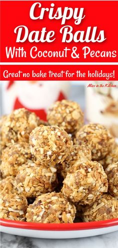 Crispy Date Balls are a holiday staple and so easy to make! Filled with sweet and chewy dates, pecans, Rice Krispies and then rolled in toasted coconut. Your family is sure to love these easy no bake holiday treats. Date Recipes, Best Dessert Recipes, Fun Desserts, Sweet Recipes, Milk Recipes, Egg Recipes, Recipes Dinner, Bread Recipes, Dinner Ideas