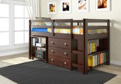 loft bunk beds with storage for kids DONCO Kids Low Study Loft Bed, Dark Cappuccino Loft Bed Desk, Loft Bunk Beds, Bunk Bed With Desk, Low Loft Beds, Bunk Beds With Stairs, Kids Bunk Beds, Trundle Beds, Design Furniture, Bedroom Furniture