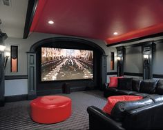 Red And Gray Theater Design Ideas, Pictures, Remodel, and Decor
