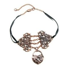 Chains Of Love - GORGEOUS GOTHIC LOLITA STEAMPUNK ANTIQUED COPPER F-HOLE FILIGREE CORSET CHOKER With CHAINS - GhostLove EXCLUSIVE DESIGN