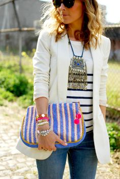 ethnic jewelry with preppy outfit.